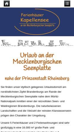 Vorschau der mobilen Webseite www.ferienhaus-kapellensee.de, Ferienhäuser Kapellensee