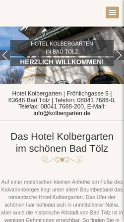 Vorschau der mobilen Webseite www.hotel-kolbergarten.de, Hotel Kolbergarten
