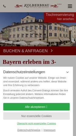 Vorschau der mobilen Webseite www.kolberbraeu.de, Posthotel Kolberbräu