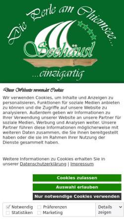 Vorschau der mobilen Webseite www.camping-seehaeusl.de, Gasthaus u. Camping Seehäusl am Chiemsee