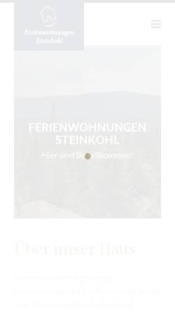 Vorschau der mobilen Webseite www.ferienwohnung-steinkohl.de, Ferienwohnungen Steinkohl