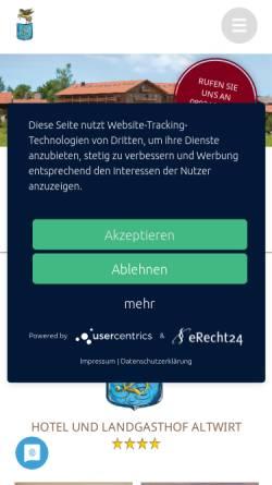 Vorschau der mobilen Webseite www.hotel-altwirt.de, Hotel Altwirt