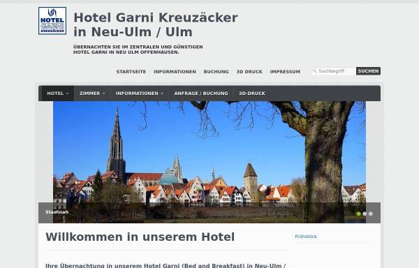 Vorschau von www.hotel-neu-ulm.de, Hotel Garni Kreuzäcker