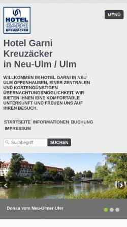 Vorschau der mobilen Webseite www.hotel-neu-ulm.de, Hotel Garni Kreuzäcker