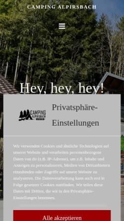 Vorschau der mobilen Webseite www.camping-alpirsbach.de, Camping Alpirsbach