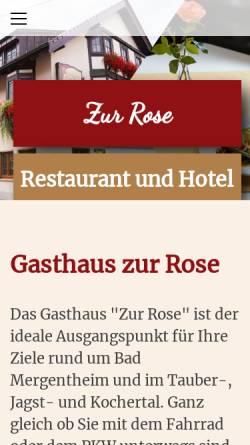 Vorschau der mobilen Webseite www.rose-stuppach.de, Gasthaus Zur Rose
