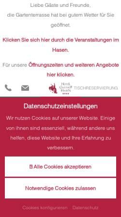 Vorschau der mobilen Webseite www.hasen.de, Hotel Restaurant Hasen