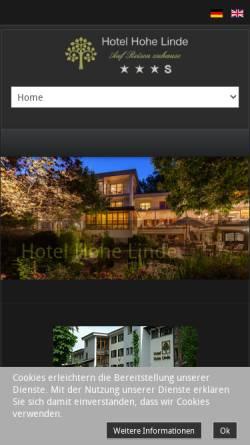 Vorschau der mobilen Webseite www.hohe-linde.de, Hotel Hohe Linde