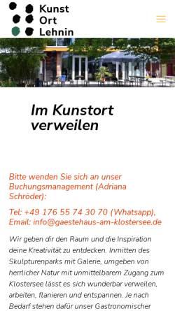 Vorschau der mobilen Webseite www.gaestehaus-am-klostersee.de, Hotel am Klostersee