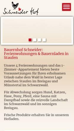 Vorschau der mobilen Webseite www.bauernhof-schneider.de, Bauernhof Schneider