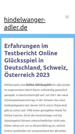Vorschau der mobilen Webseite www.hindelwanger-adler.de, Hindelwanger Adler
