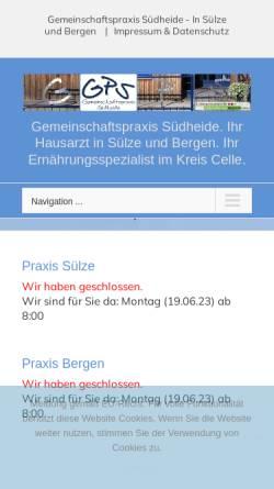 Vorschau der mobilen Webseite www.bergen-suelze.de, Gemeinschaftspraxis in Sülze