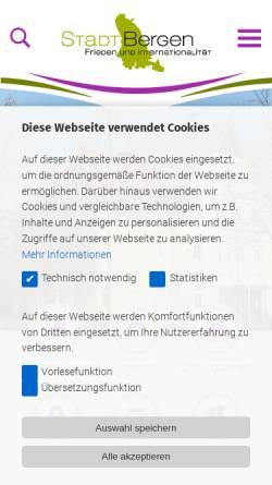 Vorschau der mobilen Webseite www.bergen-online.de, Stadt Bergen/LK Celle