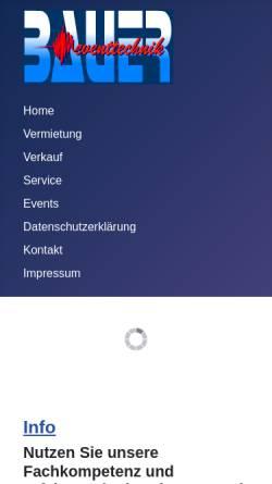 Vorschau der mobilen Webseite www.bauer-eventtechnik.de, Bauer Eventtechnik