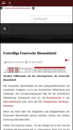 Vorschau der mobilen Webseite www.feuerwehr-bienenbuettel.de, Freiwillige Feuerwehr Bienenbüttel