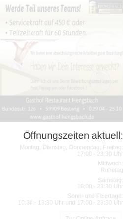 Vorschau der mobilen Webseite www.hotel-hengsbach.de, Hotel Hengsbach