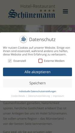 Vorschau der mobilen Webseite www.hotel-schuenemann.de, Hotel-Restaurant Schünemann