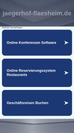 """Vorschau der mobilen Webseite www.jaegerhof-flaesheim.de, Hotel-Restaurant Jägerhof zum """"Stift-Flaesheim"""""""