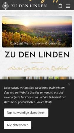 Vorschau der mobilen Webseite www.zudenlinden.de, Gasthof & Pension Zu den Linden