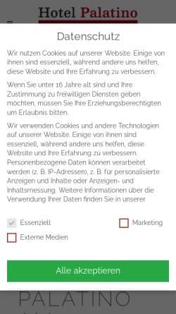 Vorschau der mobilen Webseite www.hotelpalatino.de, Hotel-Restaurant Palatino