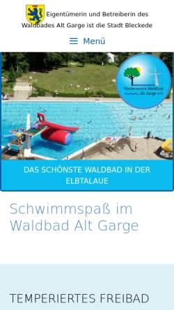 Vorschau der mobilen Webseite www.waldbad-alt-garge.de, Alt Garge
