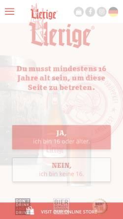 Vorschau der mobilen Webseite www.uerige.de, Uerige Obergärige Hausbrauerei GmbH