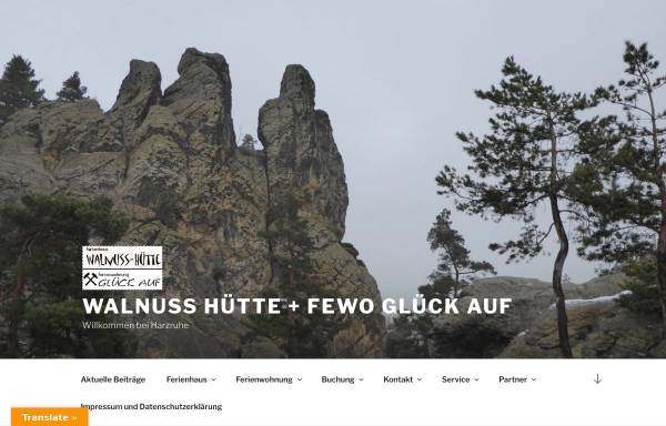 Vorschau von www.harzruhe.de, Ferienhaus Walnuss-Hütte und Ferienwohnung Glück Auf