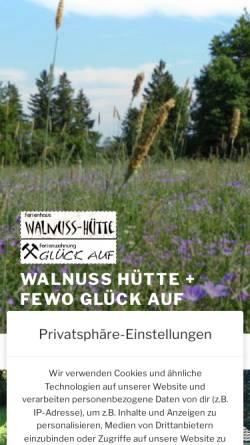 Vorschau der mobilen Webseite www.harzruhe.de, Ferienhaus Walnuss-Hütte und Ferienwohnung Glück Auf