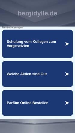 Vorschau der mobilen Webseite www.bergidylle.de, Ferienwohnungen im Haus Bergidylle