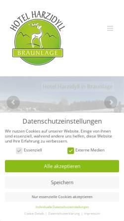 Vorschau der mobilen Webseite www.harzidyll.de, Hotel Harzidyll