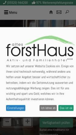 Vorschau der mobilen Webseite www.forsthaus-braunlage.de, Hotel Restaurant Altes Forsthaus