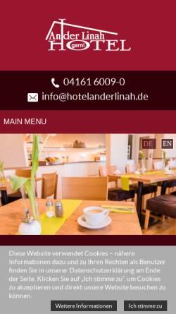 Vorschau der mobilen Webseite www.hotelanderlinah.de, Hotel an der Linah