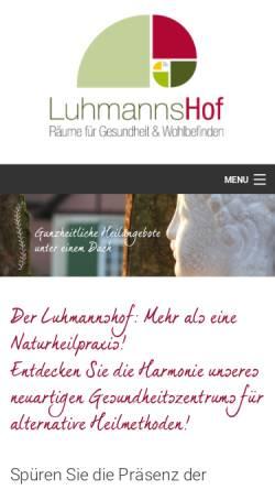 Vorschau der mobilen Webseite www.luhmannshof.de, Luhmanns Hof