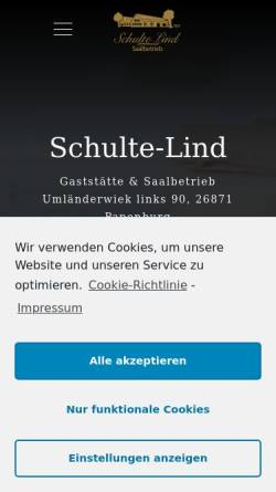 Vorschau der mobilen Webseite www.gaststaette-schulte-lind.de, Gaststätte Schulte-Lind