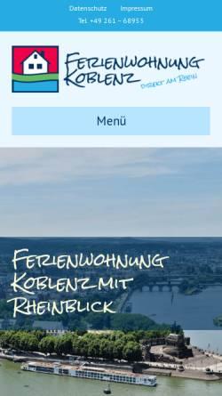 Vorschau der mobilen Webseite www.ferienwohnung-koblenz.de, Ferienwohnung Wagner-Weiser