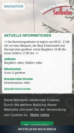 Vorschau der mobilen Webseite www.wurmberg-seilbahn.de, Wurmbergseilbahn