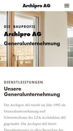 Vorschau der mobilen Webseite www.archipro-ag.ch, Archipro AG, Freiburg
