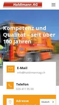 Vorschau der mobilen Webseite www.haldimannag.ch, Haldimann AG