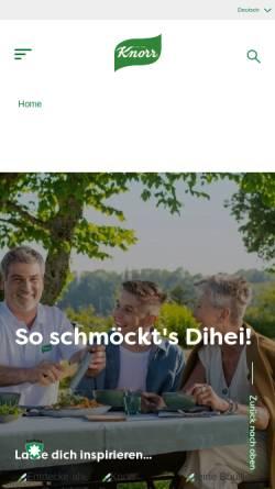 Vorschau der mobilen Webseite www.knorr.ch, Knorr-Nährmittel AG