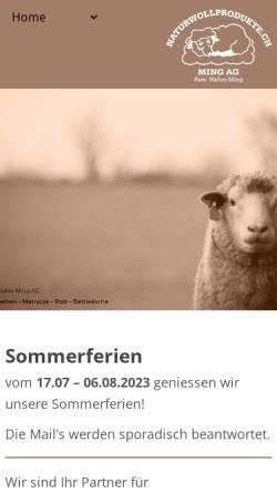Vorschau der mobilen Webseite www.naturwollprodukte.ch, Ming Peter, Naturwollprodukte