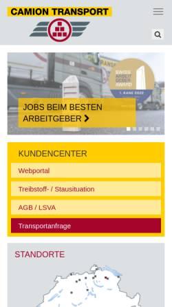 Vorschau der mobilen Webseite www.camiontransport.ch, Camion Transport AG