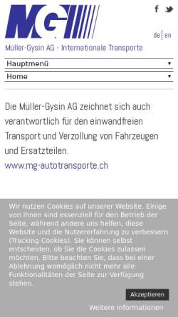 Vorschau der mobilen Webseite www.muellergysin.ch, Müller-Gysin AG