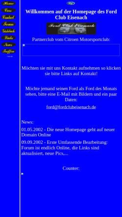 Vorschau der mobilen Webseite www.fordclubeisenach.de, Ford Club Eisenach
