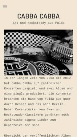 Vorschau der mobilen Webseite www.cabba-cabba.de, Cabba Cabba