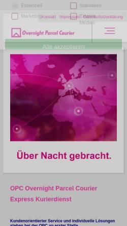 Vorschau der mobilen Webseite www.opc-courier.de, Overnight Parcel Courier