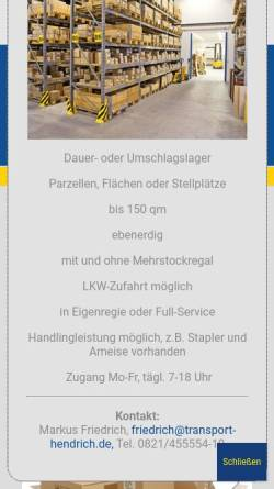 Vorschau der mobilen Webseite www.umzug-hendrich.de, Fritz Hendrich GmbH & Co.