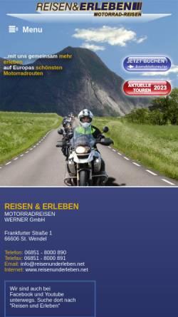 Vorschau der mobilen Webseite www.reisenunderleben.net, Reisen und Erleben Motorradreisen Werner GmbH