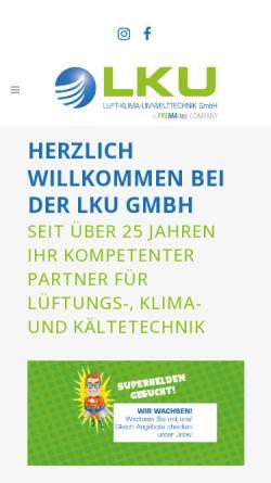 Vorschau der mobilen Webseite www.lku.de, LKU Luft Klima Heizungstechnik GmbH Mechern