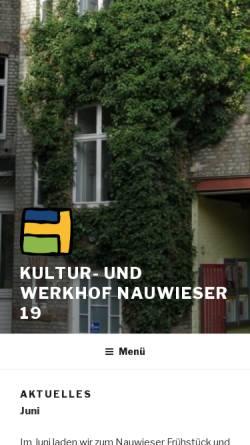 Vorschau der mobilen Webseite www.nauwieser19.de, Nauwieser-19 Kultur- und Werkhof e.V.