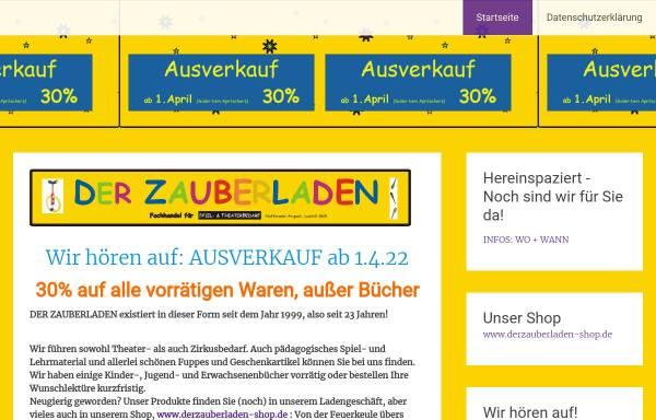 Vorschau von www.derzauberladen.de, Der Zauberladen Fachhandel für Spiel- und Theaterbedarf Hoffmann-Argast Loskill GbR